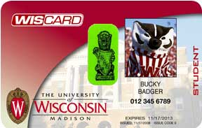 University of Wisconsin identification card with green gargoyle sticker on it to signify that the student is a law student.